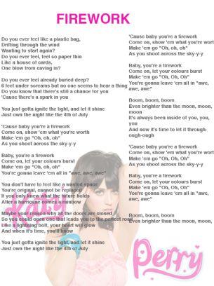 Katy Perry Firework Lyrics Sheet