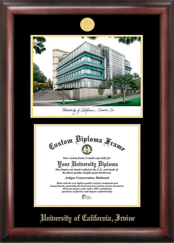 university of california irvine gold embossed diploma frame with campus images lithograph products - Wvu Diploma Frame