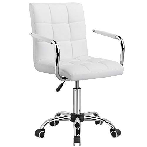 Yaheetech White Office Chair/Desk Chair With wheels Swivel ...