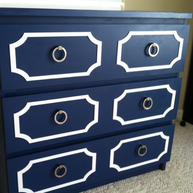 Ikea Malm Transformation - Painted Annie Sloan Napoleanic blue, added overlays, new ring hardware.
