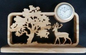 1.2.Tree Wooden Scroll saw creations - Deer Clock