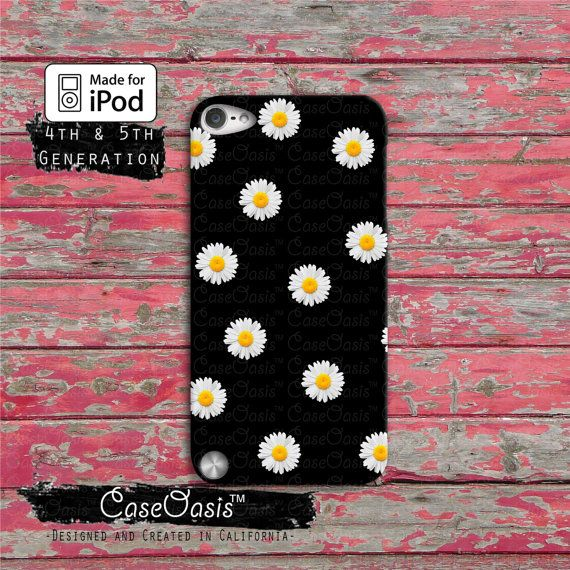 Daisy Flower Pattern Cute Yellow Tumblr Black iPod Touch 4th Generation or iPod Touch 5th Generation Rubber or Plastic Case on Etsy, $14.99