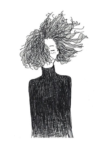 Beautifully drawn with Pencil  Blowing Curly Hair Series 001  Pear Tea Paperie…