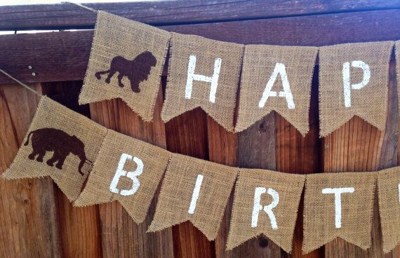 Safari Burlap Happy Birthday Banner by WoulfsCreations on Etsy