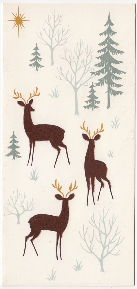 Vintage Greeting Card Christmas Flocked Deer Mid-Century Norcross