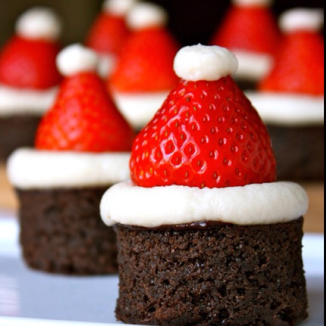 Brownie Santa hats - because chocolate and strawberries go together. :)