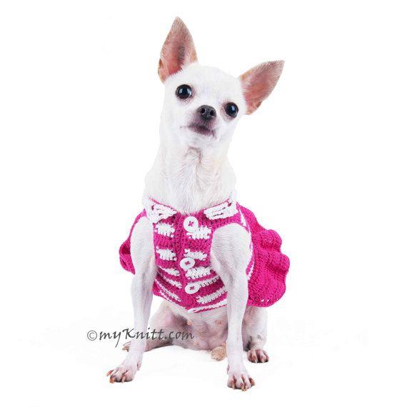 Pink Crochet Dog Wedding Dress Striped White Fluffy by myknitt
