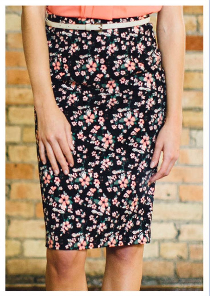 Black and Coral Floral Pencil Skirt