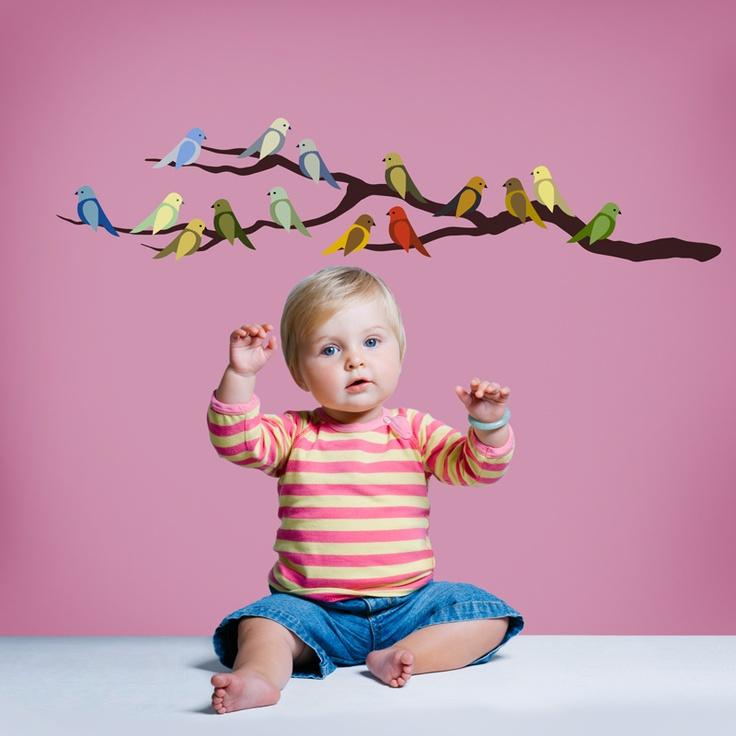 Love this wall decal: Fun Diy, Cute Birds, Wall Decals, Delight Birds, Adhesive Fabrics, Diy Projects, Adh Fabrics, Fabrics Wall, The Roller Coasters