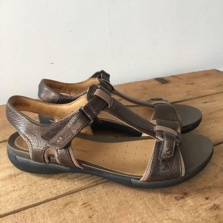 Uk size 6 womens clarks unstructured bronze leather sandals un-voshell  strappy