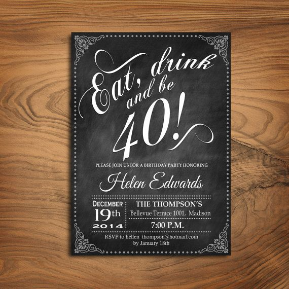 40th Birthday Invitation / Any Age / Chalkboard / Black White / Digital Printable Invitation / Customized