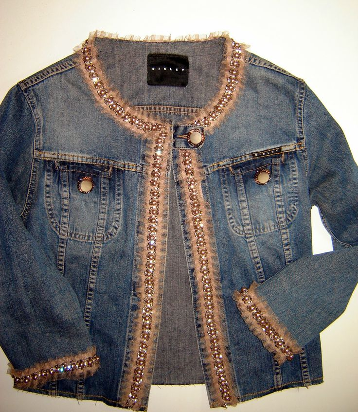 Taller campesino: RICICLARE: giubbino jeans con perline How to recycle an old jeans jacket