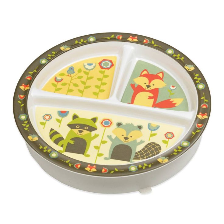 product image for Sugarbooger® by o.r.e Divided Suction Plate in What Did the Fox Eat?