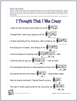 music notes worksheets for kids | Thought That I Was Crazy Note Name Worksheet