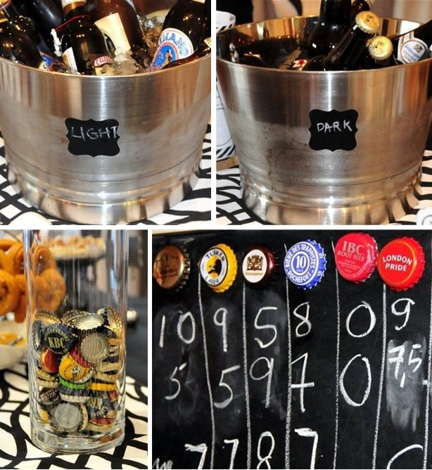black and white #beer tasting #party with #chalkboard scoreboard craft frome fete-a-fete.blogspot.com