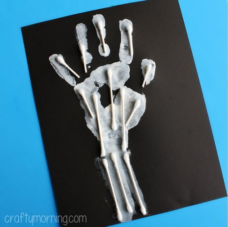Quick, easy & fun skeleton craft using Q-tips: skeleton hand print craft would work for X is for X-ray for ABC art too.