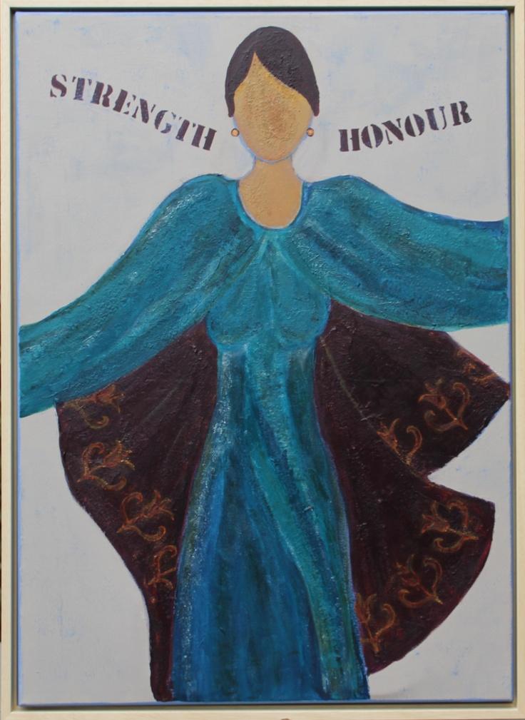 """""""Strength & Honour""""    Uit haar verschijning spreken kracht en waardigheid,  de dag van morgen ziet ze lachend tegemoet.  Spreuken 31:25"""
