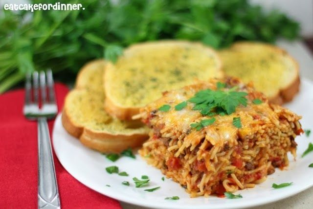 Bobby Deen's Baked Spaghetti, leave out the cheese or use cauliflower cheese or light bread crumbs to make it healthier!