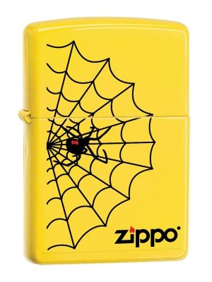 Black Widow spider and web on Lemon yellow matte Zippo lighter available from Zippo Italy.
