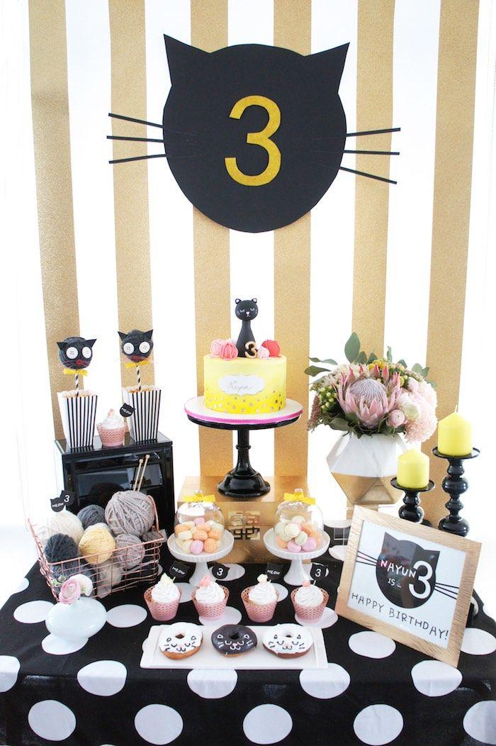 Sweet Table from a Kitty Cat Birthday Party via Kara's Party Ideas | KarasPartyIdeas.com (22)