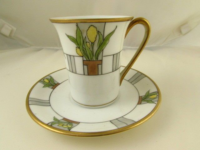Nippon Hand Painted Demitasse Cup and Saucer Flower Pot Design - Art Nouveau Style
