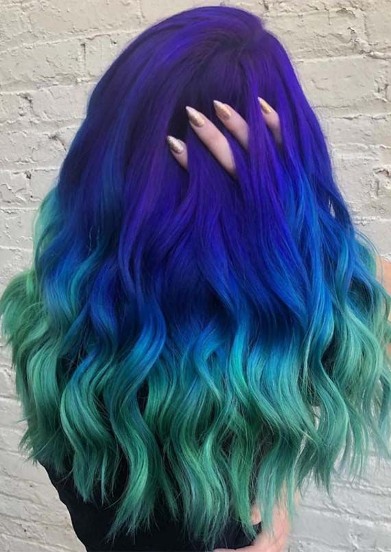 Browse Here To See Our Latest Trends Of Blue To Green Hair Colors And Highlights To Wear Right Now We Have Made Blue Ombre Hair Green Hair Colors Hair Styles