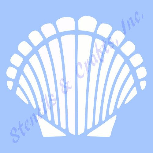 FREE SHIPPING! (U.S. ONLY).  THIS IS A BEAUTIFUL SHELL SEASHELL STENCIL TEMPLATE. BRAND NEW. YOU CAN USE THIS STENCIL OVER AND OVER AGAIN. DURABLE AND REUSABLE.  DESIGNED BY STENCILS & CRAFTS, INC.  THE ENTIRE STENCIL MEASURES: 4 x 5 INCHES.  THE ENTIRE DESIGN MEASURES: 3.5 X 4.00 INCHES.  THE WHITE AREA ON THIS PICTURE IS THE STENCIL PORTION YOU WILL FILL IN WITH PAINT - THE ACTUAL CUT OUT AREA. THE BLUE AREA IS THE STENCIL MATERIAL.  THIS IS A GREAT STENCIL - DONT MISS THIS GREAT…