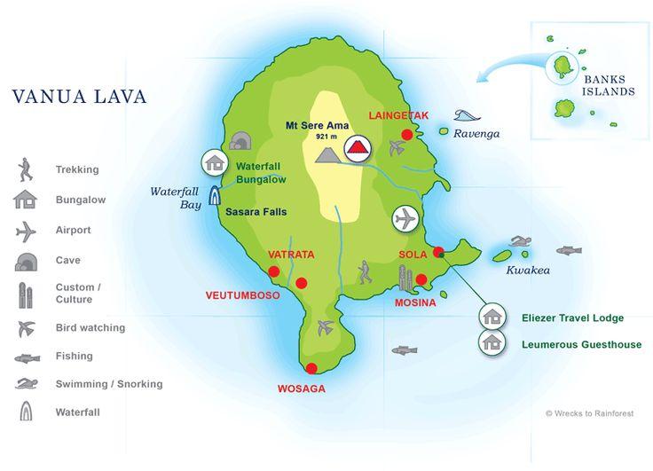 Map of  Vanua Lava, Banks Islands, Torba, Vanuatu