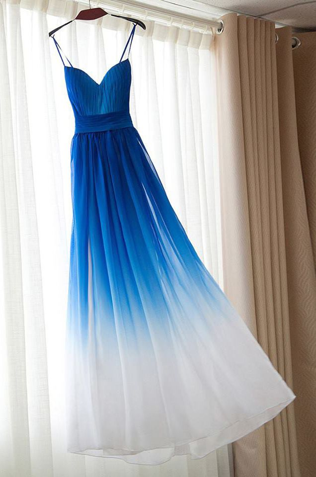 A-line, Sweetheart, Spaghetti Strap, Royal Blue Ombre, Long, Chiffon Prom/Homecoming Dress
