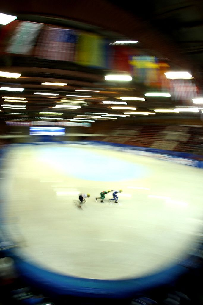 Luca Lim of United States (R) competes in the mens 500m preliminaries during the World Junior Short Track Speed Skating Championships at the Winter Sports Palace on January 30, 2016 in Sofia, Bulgaria.