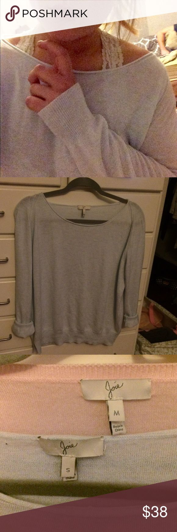 Joie baby blue sweater 💕 JOIE designer brand soft knit sweater! Sweet baby blue in color and perfect condition swoop neck and super soft because it's hardly been worn! One picture has the other pink sweater because I'm selling that one too! :) Joie Tops Tees - Long Sleeve