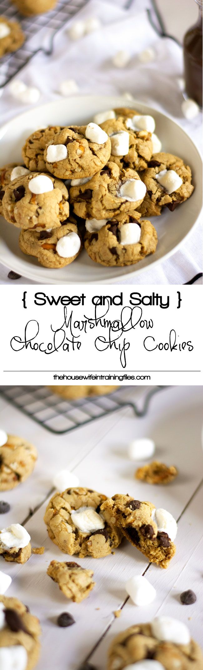 Best of both worlds in this sweet and salty treat! Marshmallow Chocolate Chip Cookie is chewy, chocoately and made healthier with coconut oil!