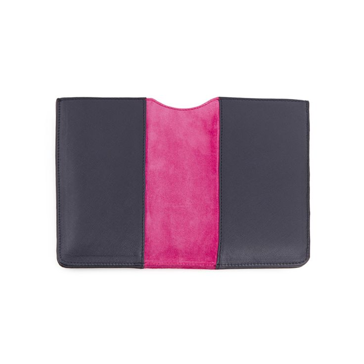 Leather iPad cover with saffiano print and suede inserts, golden details. The iPad cover is blue, but you can choose the color of the central band.