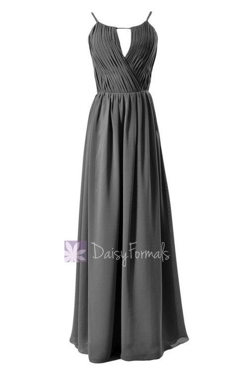 Soft Floor Length Chiffon Bridesmaid Dress Gray Evening Dress W/Jewel Neck(BM10826L)