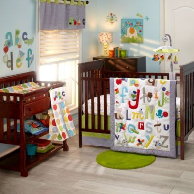 like this crib skirt ... NoJo® ABC with Me by Jill McDonald 4-Piece Crib Bedding Set - buybuyBaby.com