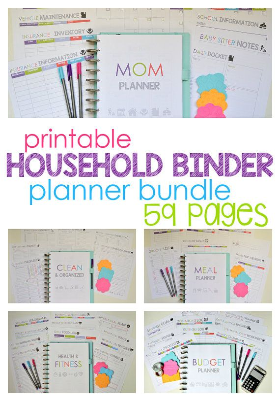 Printable Household Binder planner bundle- includes meal planner, mom planner, cleaning planner, Budget planner, and the fitness planner!! https://www.etsy.com/listing/122579522/household-binder-bundle-home-management
