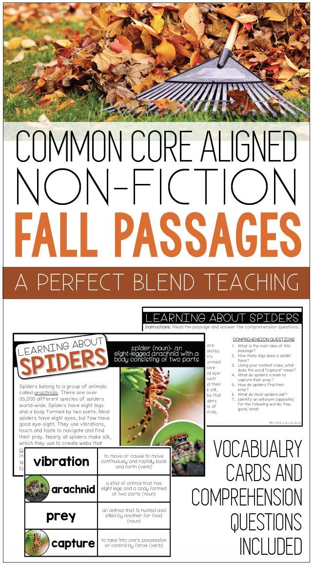 10 non-fiction stories with themes centered around the fall season. High-resolution photos are included for each story. Stories are perfect small group instruction, tiered intervention or as a whole class activity. Each story is common core aligned and targets vocabulary and comprehension.