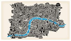 Beautiful typographical map of London - blue river