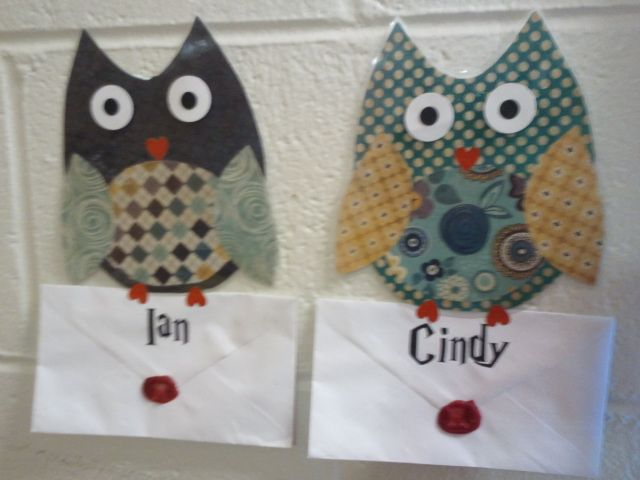 """My owl door decorations delivering my residents their """"Rodney"""" letters to accompany my Harry Potter theme for the Fall 2013 Semester."""