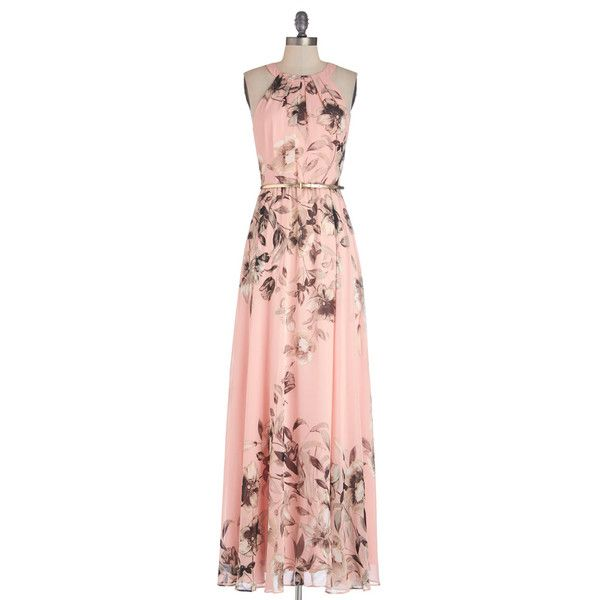 ModCloth Pastel Long Sleeveless Maxi Fete of Florists Dress ($138) ❤ liked on Polyvore featuring dresses, modcloth, robe, apparel, pink, floral print maxi dress, floral chiffon dress, pink dress, long chiffon dress and floral maxi dress