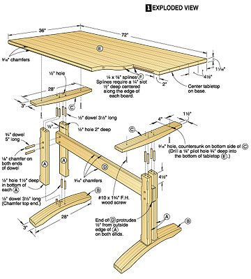 Wood table plan project plans for wood tables and desks for Double t dining plan