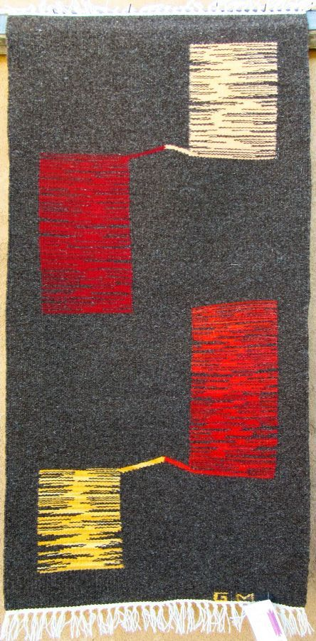 20x40 Modern tapestry by Gloria Montoya, handwoven natural dyed and undyed wool