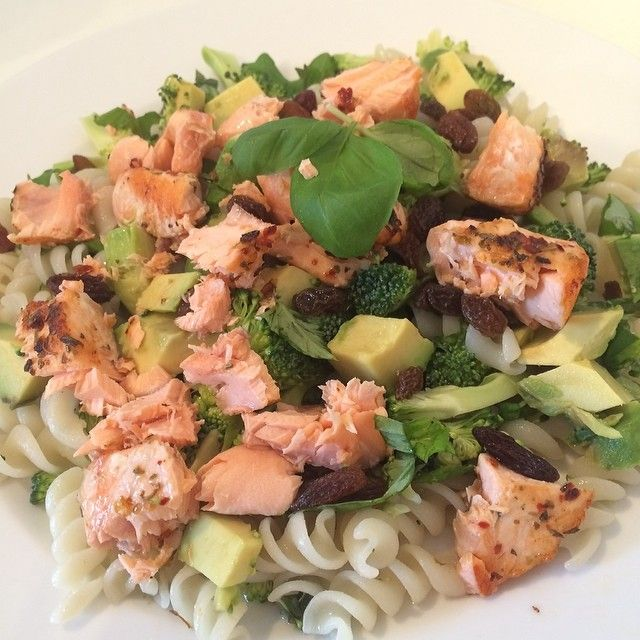 The Body Coach:Quinoa & rice fusilli pasta with salmon, avocado, broccoli, basil and raisins! #leanin15 #foodie #foodporn #teamlean2014 #thebodycoach