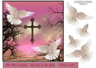 Scenic Doves Pink Topper with Decoupage on Craftsuprint - Add To Basket!