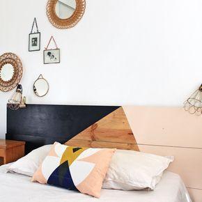 Dans l'esprit récup', un plateau de table a été utilisé pour réaliser cette tête de lit aux lignes graphiques. Il est toutefois aussi possible de la concevoir à l'aide de contreplaqué acheté en quincaillerie. Pour le reste, une pincée d'imagination, un peu de peinture, et voilà une tête de lit fantaisiste!