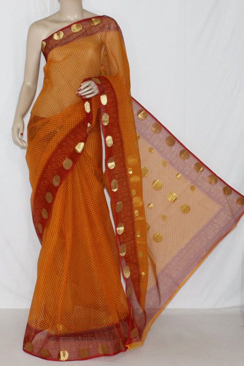 Orange Red JP Kota Doria Printed Cotton Saree (without Blouse) Zari Border &…