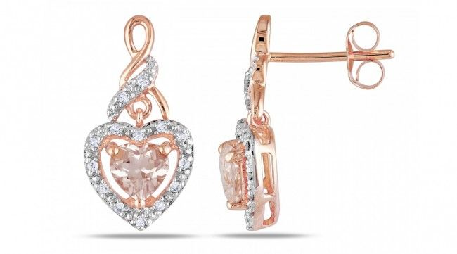 Rose Gold on Silver Morganite Heart Earrings