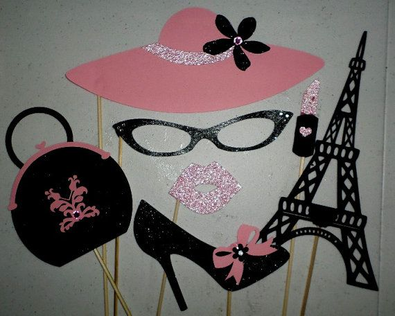 PARIS 7pc Set Photo Booth Props  The props are cut from card stock and glitter card stock. They are attached to 12 wooden sticks.  Perfect for