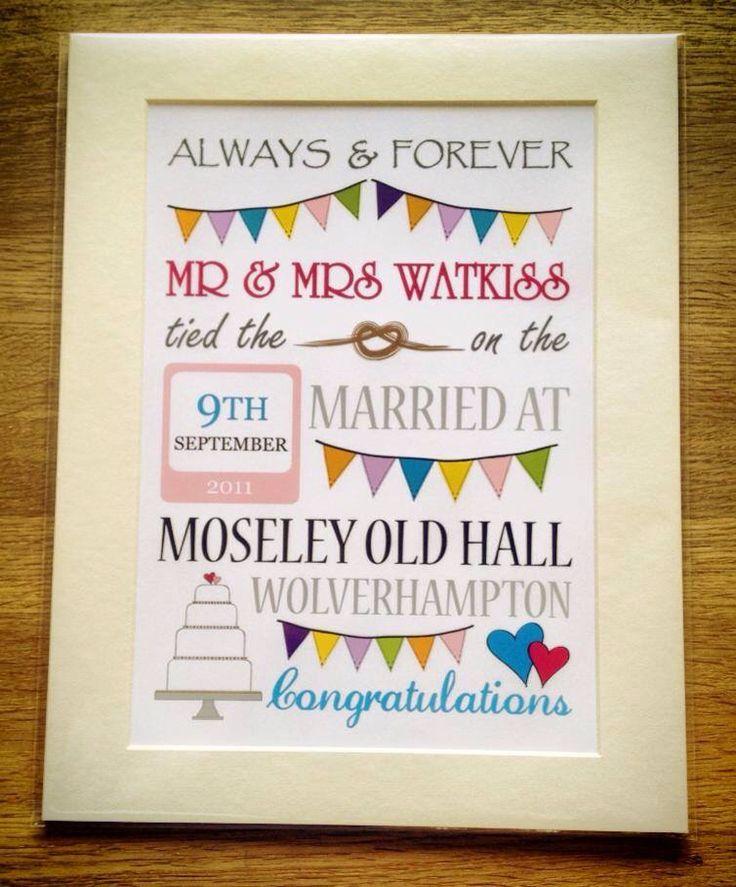 Mounted personalised wedding day print