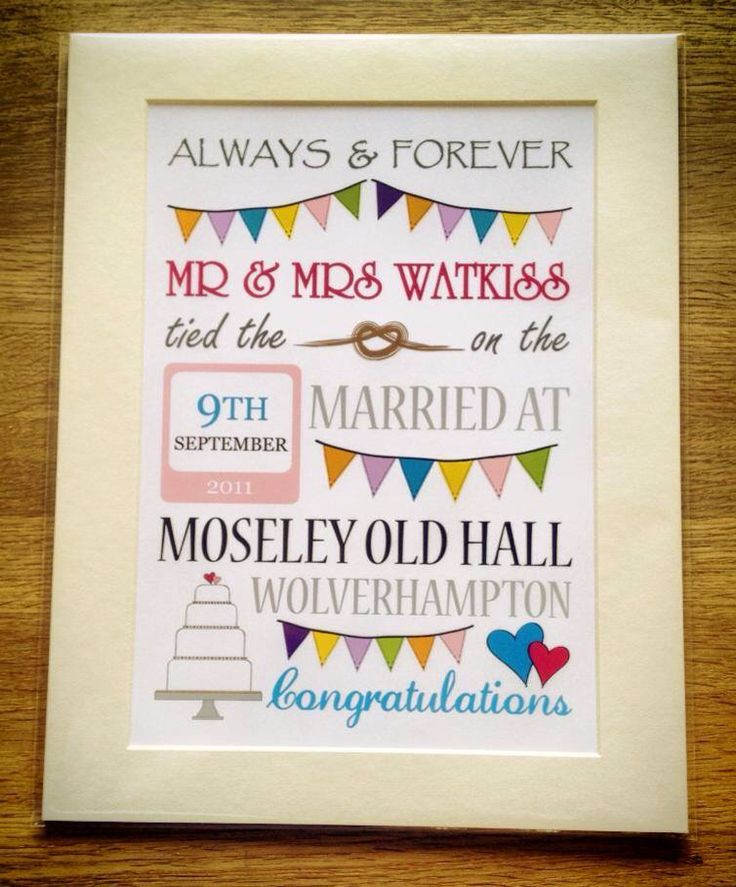 Mounted personalised wedding day print